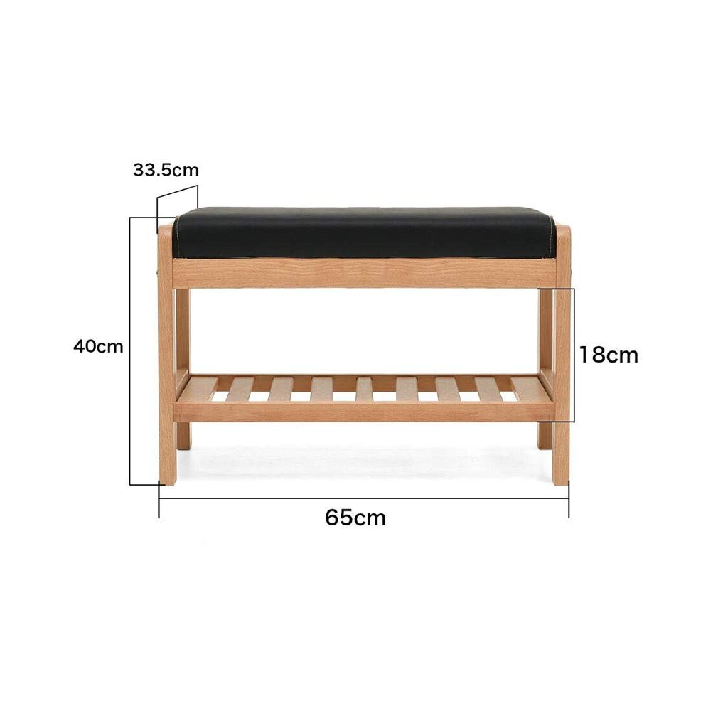 Wood color L65CM ECSD shoes Bench, Solid Wood shoes Rack Storage Organizer & Hallway Bench ,with Faux Leather Accents (color   Walnut color, Size   L85CM)