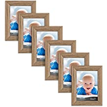 Icona Bay 5x7 Picture Frames 6 Pack (5x7, Dark Oak Wood Finish), Picture Frame Set, Wall Hang or Table Top, Cherished Memories Collection