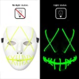Scary Mask Halloween Cosplay LED Costume Mask EL Wire Light up Mask for Festival Parties (Green)