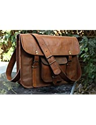 IndianHandoArt 15 Inch Leather Bag Leather Messenger Bag for Men and Women Crossbody Bags for Men and Women