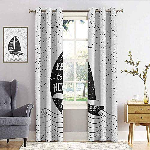 hengshu Nautical 99% Blackout Curtains Hand Drawn Boat on Wavy Ocean Say Yes to New Adventures Monochrome Design for Bedroom Kindergarten Living Room W72 x L72 Inch Black and White