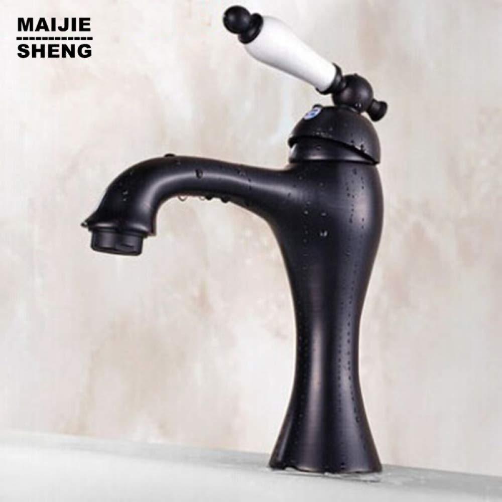 SLTZUB White Grip Antique brass black basin faucets bathroom bronze water tap sink mixer Waterfall black sink tap