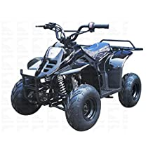 "110cc ATV Four Wheelers Fully Automatic 4 Stroke Engine 16"" Tires Quads for Kids Metallic Black"