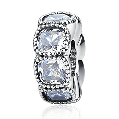 b7af5542b Alluring Cushion with Clear CZ Spacer 925 Sterling Silver Bead Fits Pandora  Charm Bracelet: Amazon.co.uk: Jewellery