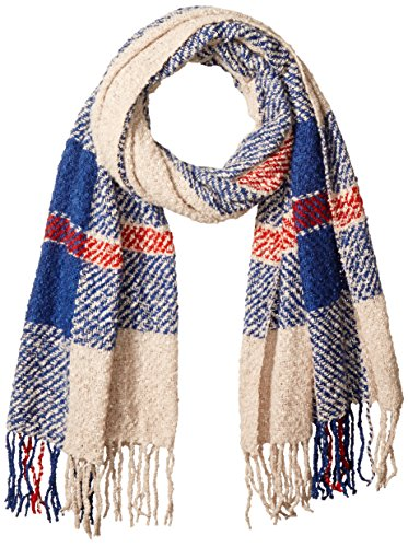 D&Y Women's Large Scale Plaid Woven Blanket Scarf, Blue, One Size