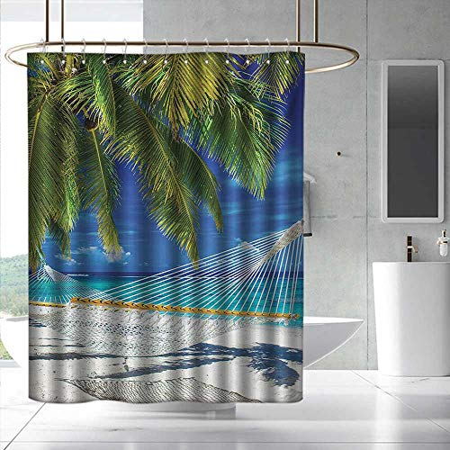 Beach Fabric Shower Curtain Hammock on The Sandy Beach Between Palm Coconut Overlooking Sea Nature Art Fabric Shower Curtain Bathroom W55 x L84 Cream Navy Green
