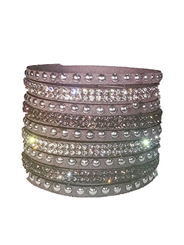 BONLAVIE 9 Row Leather Rhinestone Cuff Wrap with 2 Adjustable Snaps Bracelet (Grey 1st Row)