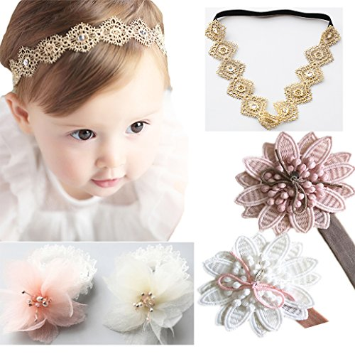 DANMY Baby Girl Super Stretchy Headband Big Lace Petals Flower Baby Hair Band Newborn Hair Accessories (5pcs Mixed color)