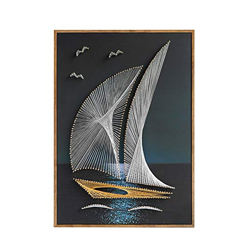 DIY Thread Winding Three-Dimensional Sailing Decoration Painting, Home Wall Decoration Painting DIY Material Package, Parent-Child Manual Interactive Game by Home Decoration (Image #7)