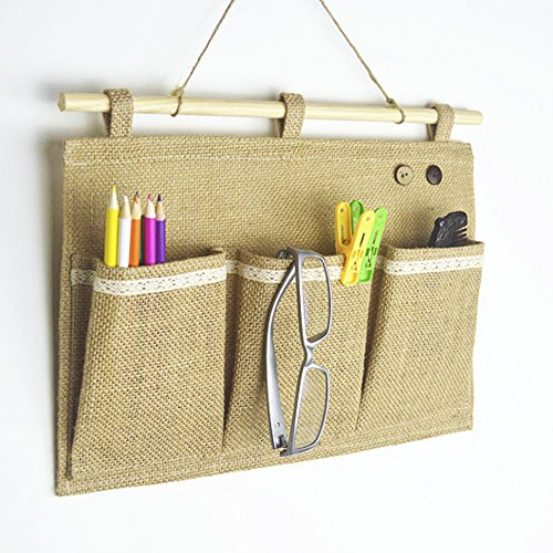 [Co-link Linen/Cotton Fabric Wall Door Closet Hanging Storage Bag Organizer (3 Pockets)] (3 Door Storage)