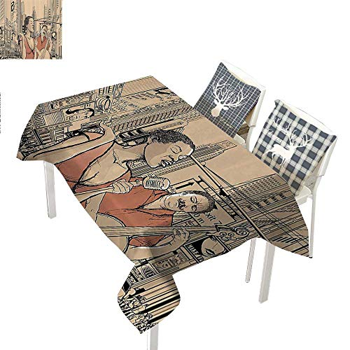 WilliamsDecor Jazz Music Decor Christmas Tablecloth Napkins an Jazz Singer with Double Bass Player in a Street of New York Urban LifestyleBrown Beige Rectangle Tablecloth W60 xL102 inch