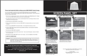 Quik Shade 10'x10' Instant Canopy Screen Panel Set with Zipper Entry from BY QuikShade