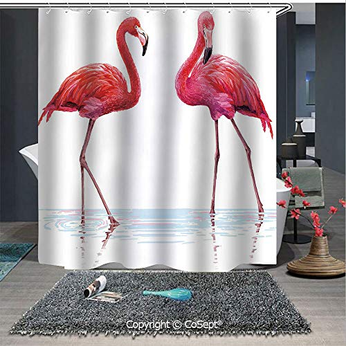 - SCOXIXI Easy Care Polyester Shower Curtain,Two Hand Drawn Flamingos in Pink Colors on Seaside Tropical Wildlife Artwork,for Master,Kid's,Guest Bathroom,Standard(70.86