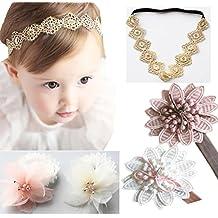 DANMY Baby Girl Super Stretchy Headband Big Lace Petals Flower Baby Hair Band Newborn Hair accessories