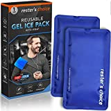Gel Cold & Hot Packs (2-Piece Set) 5x10 in with Adjustable Wrap. Reusable Warm or Ice Packs for Injuries, Hip, Shoulder, Knee, Back Pain - Hot & Cold Compress for Swelling, Bruises, Surgery