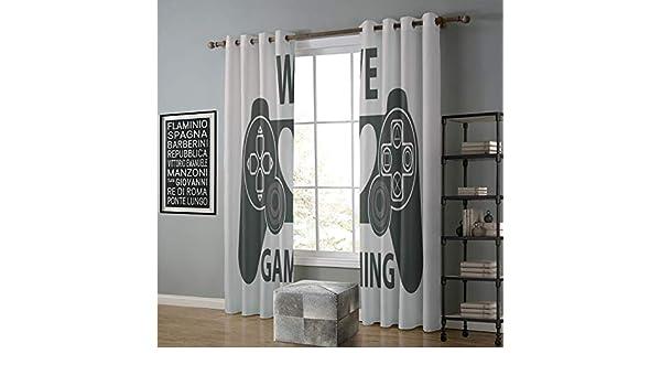 Blackout Cortina Ojal 84 por 84 Pulgadas Gamer, We Love Gaming Cita Greyscale Controller diseño corazón en el Medio, Gris carbón Blanco: Amazon.es: Jardín