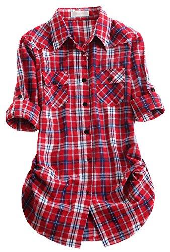 (chouyatou Women's Winter Fleece Lined Plaid Flannel Buttoned Shirt (XX-Large, Thin107))