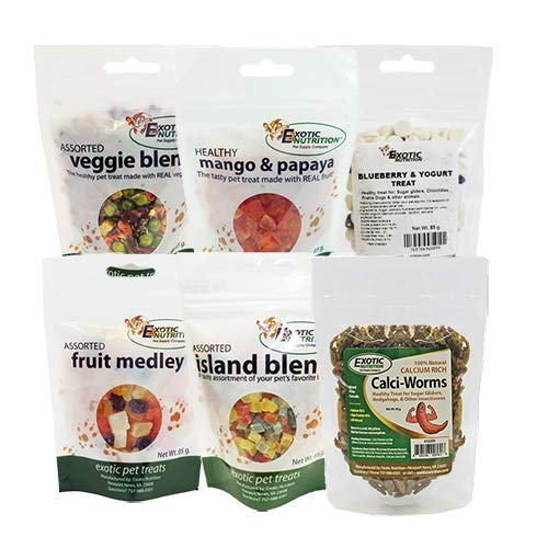 - Treat Assortment 6 Pack - Pet Treat with Mix of Dried Fruits, Yogurt, Dried Insects, & Other Crunchies - For Sugar Gliders, Hedgehogs, Squirrels, Skunks, Opossums, Marmosets, Rats, Hamsters & Gerbils