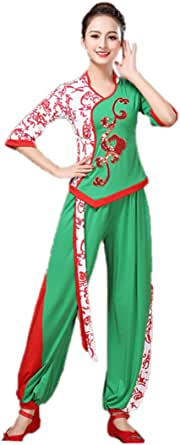 Aiweijia Women's Skirt Suits Trouser Suits Yangko Dance Costume Polyester Fiber Soft Comfy Elastic Retro Fashion Elegant Women's Square Dance Clothes