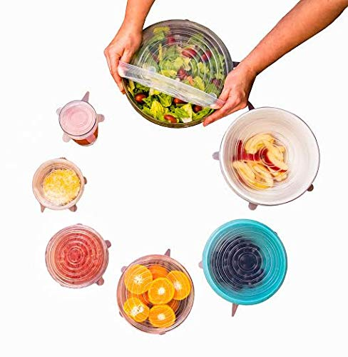 Modfamily Silicone Stretch Lids (7 Pack, Includes Exclusive XL Size), Reusable, Durable & Expandable to Fit Many Container Sizes & Shapes. Superior for Keeping Food Fresh, Dishwasher & Freezer Safe