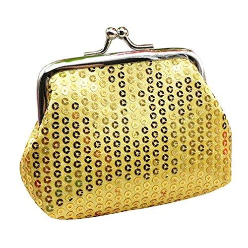 zarupeng Moda para mujer Pequeña lentejuelas monedero de la tarjeta de monedero monedero bolsa de embrague bolso Oro