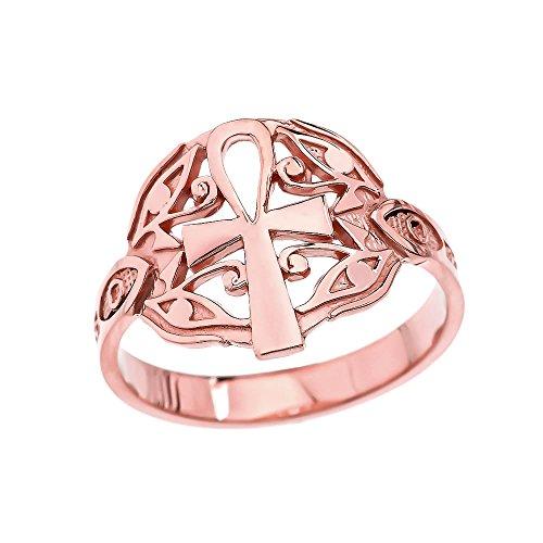 10k Rose Gold Egyptian Ankh Cross And Eye of Horus Elegant Ring