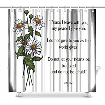 Wknoon 72 X Inch Shower Curtain Christian Bible Verses Scripture Quotes Joshua 1