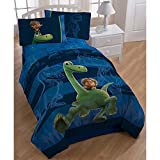 5pc Blue Kids Disney Good Dinosaur Movie Theme Comforter Twin Set, Cute Fun Disneys Pixar Carnivore Dinosaurs Bedding, Character Spot Dino Arlo Themed, Horizontal Stripe Pattern, Green Navy