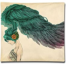 """Ministoeb Pillowcase Covers 18""""X18"""" Pillow Case Cover Girl Long Hair Feathers Double Printed Cotton Square Throw Decorative Cushion For Sofa"""