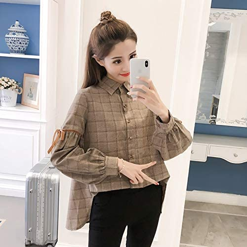Chic social plaid shirt female long-sleeved 2018 spring new Korean version of loose coat early autumn retro shirt tide brand:QWERTY (Color : Gray, Size : L)