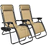 Best Choice Products Set of 2 Adjustable Zero Gravity Lounge Chair Recliners for Patio, Pool w/ Cup Holder Trays, Pillows - Beige