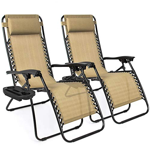 (Best Choice Products Set of 2 Adjustable Zero Gravity Lounge Chair Recliners for Patio, Pool w/ Cup Holder Trays, Pillows - Beige)