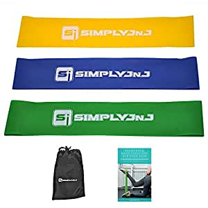 Resistance Loop Band Kit - Includes eBook with Exercises, 3 Bands + Carry Bag