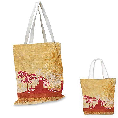 """Price comparison product image Asian shopping bag storage pouch Temple in Floral Environment with Other Ethnic Asian Religion Elements Print small tote shopping bag Persian Orange Pink. 13""""x13""""-10"""""""
