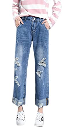 f7855b1803f Women s Casual Loose Straight Wide Leg Rolled-Up Denim Trousers Cropped  Jeans 26 Washed Indigo