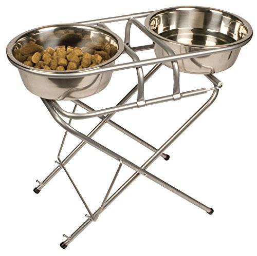 - Jack and Dixie Stainless Steel Adjustable Elevated Dog Bowl and Stand Set