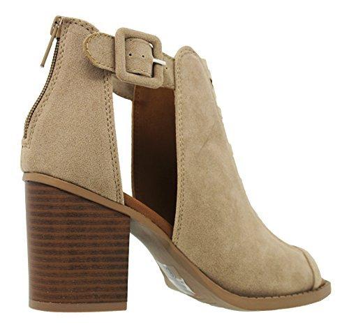 MVE Shoes Women's Platform Open Toe Ankle Strap High Heel Sandal, Taupe FLK Size 7