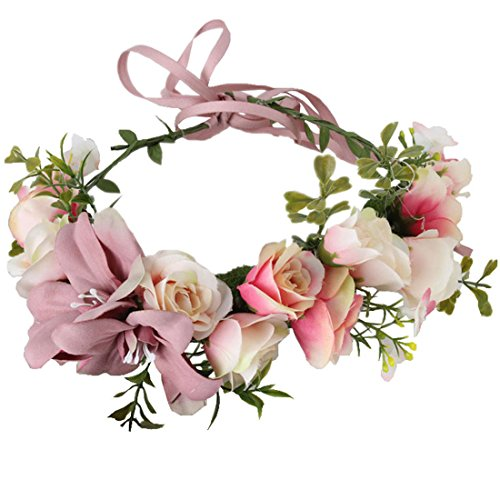 RagBear Flower Headbands For Girls Women Formal With Flowers Of Hope Pink Hair Cameo brown