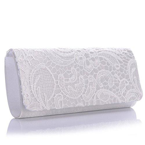 Encaje blanco bolso floral Blanco novia bolsa noche 1w1p067q