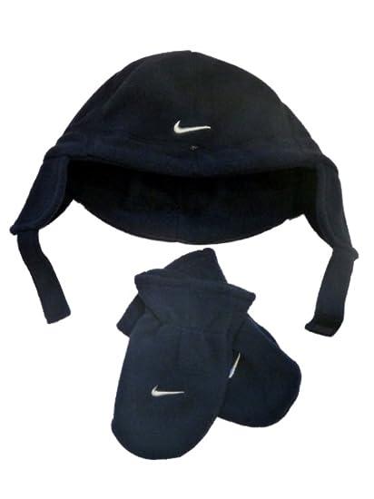 717c68aa044 Amazon.com  Nike Toddler Boys Navy Blue Fleece Trapper Hat   Mittens Set  Microfleece Aviator  Clothing