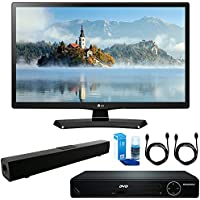LG 28LJ4540 28-Inch 720p HD LED TV (2017 Model) + HDMI 1080p High Definition DVD Player + Solo X3 Bluetooth Home Theater Sound Bar + 2x HDMI Cable + LED TV Screen Cleaner
