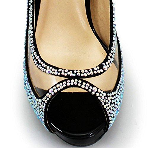 Peep Fantasia Scarpa Tagliato Tacco Fuori Rachel Diamante unica Boutique Nero Slittamento Sul Flr243 Partito Toe Signore Stiletto ® wwT4Y