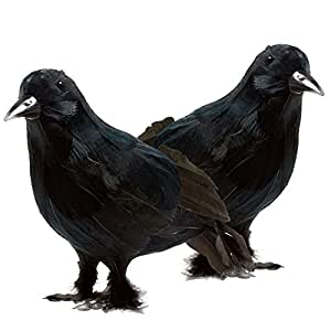 Prextex Realistic Looking Halloween Decoration Birds Black Feathered Crows Halloween Prop Décor (2-pack)
