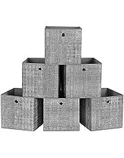 SONGMICS Hopfällbara förvaringslådor, set med 6 icke-vävda tygförvaringskuber, 30 x 30 cm, leksakskläder organiseringslådor, grå, RFB02LG-3