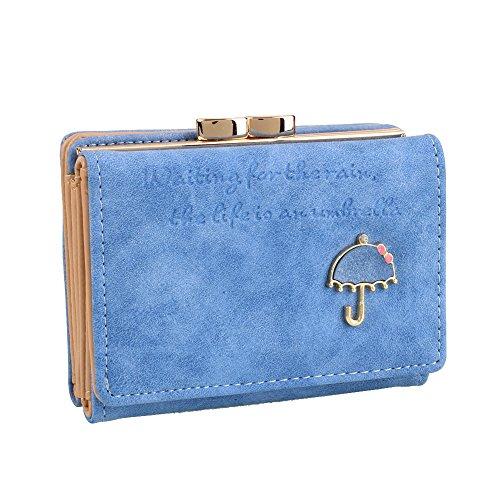 Vin beauty La mujer del paraguas de la cremallera del embrague corto retro del ante del bolso del monedero de la cartera Light Blue