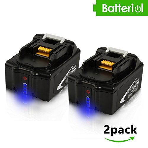 Batteriol 2 Pack 18V LXT Lithium-Ion 5.0Ah Battery with LED Indicator for Makita BL1850 BL1840 BL1830 BL1820 LXT-400 194204-5 Cordless Power Tools (NOT for DC18RA charger)
