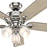 Cheap Hunter Fan 52 inch Brushed Nickel Casual Ceiling Fan with 3 Lights (Certified Refurbished)