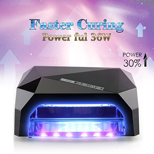 Gellen 36W Powerful UV LED Nail Dryer Lamp, with Hand Sensor and Super Fast Drying, 10s/30s/60s Memory Timers, Ideal for Home and Salson Use (Black)