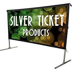 "STO-169120 Silver Ticket Indoor/Outdoor 120"" Diagonal 16:9 4K Ultra HD Ready HDTV Movie Projector Screen Front Projection White Material with Black Back (STO 16:9, 120)"