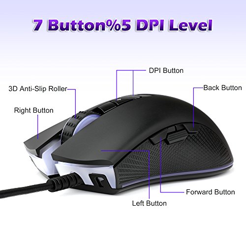 51N 3DFFF5L - YockTec-RGB-Tunable-Gaming-MouseMulti-Color-Ergonomic-Gaming-Mouse-4000-DPI-Sensor-Comfortable-Grip-The-eSports-Gaming-Mouse